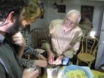 Bill Hohenboken, Laura Morrison, and Tom Lavano making double fried potatoes.