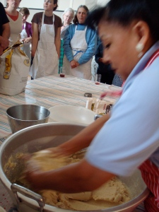 Texcoco native and veteran tamale maker Maria Ortiz demonstrates how to knead the masa dough.