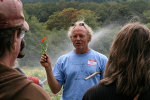 Frank Morton cultivates and harvests heirloom, organic, non-patented seeds (Photo by Cheryl Brock, Slow Food Portland).